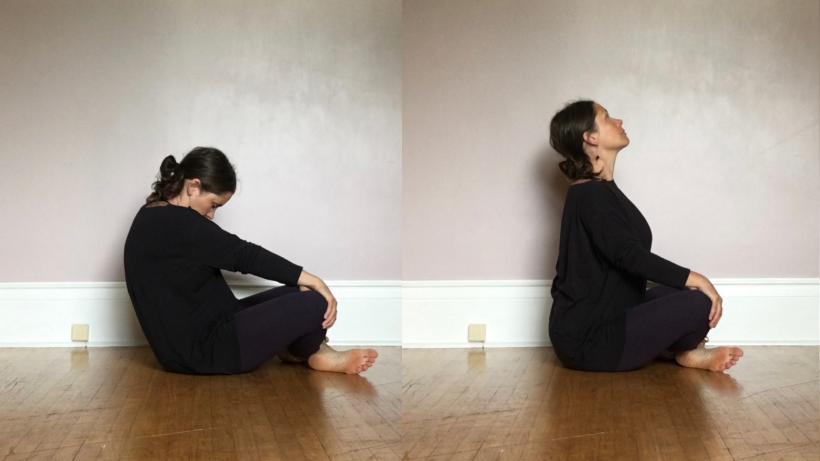 Seated Cat Cow Pose to relieve stress, and for overall pelvic health