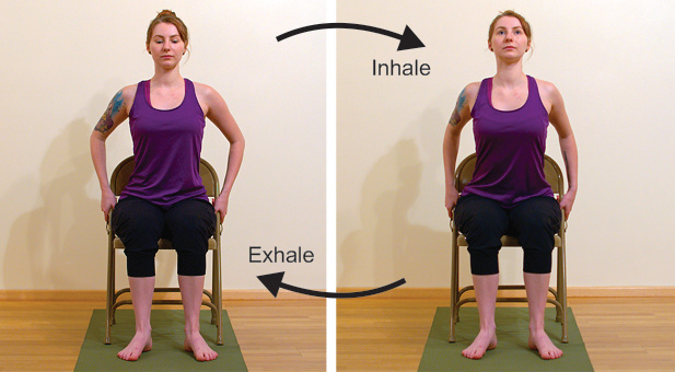 Gentle yoga backbending in the chair for improving posture