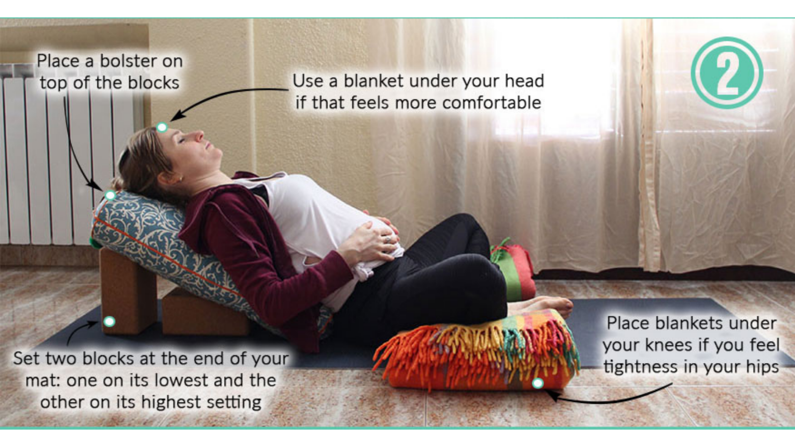 The benefits of practicing Inclined Savasana yoga pose with butterfly legs