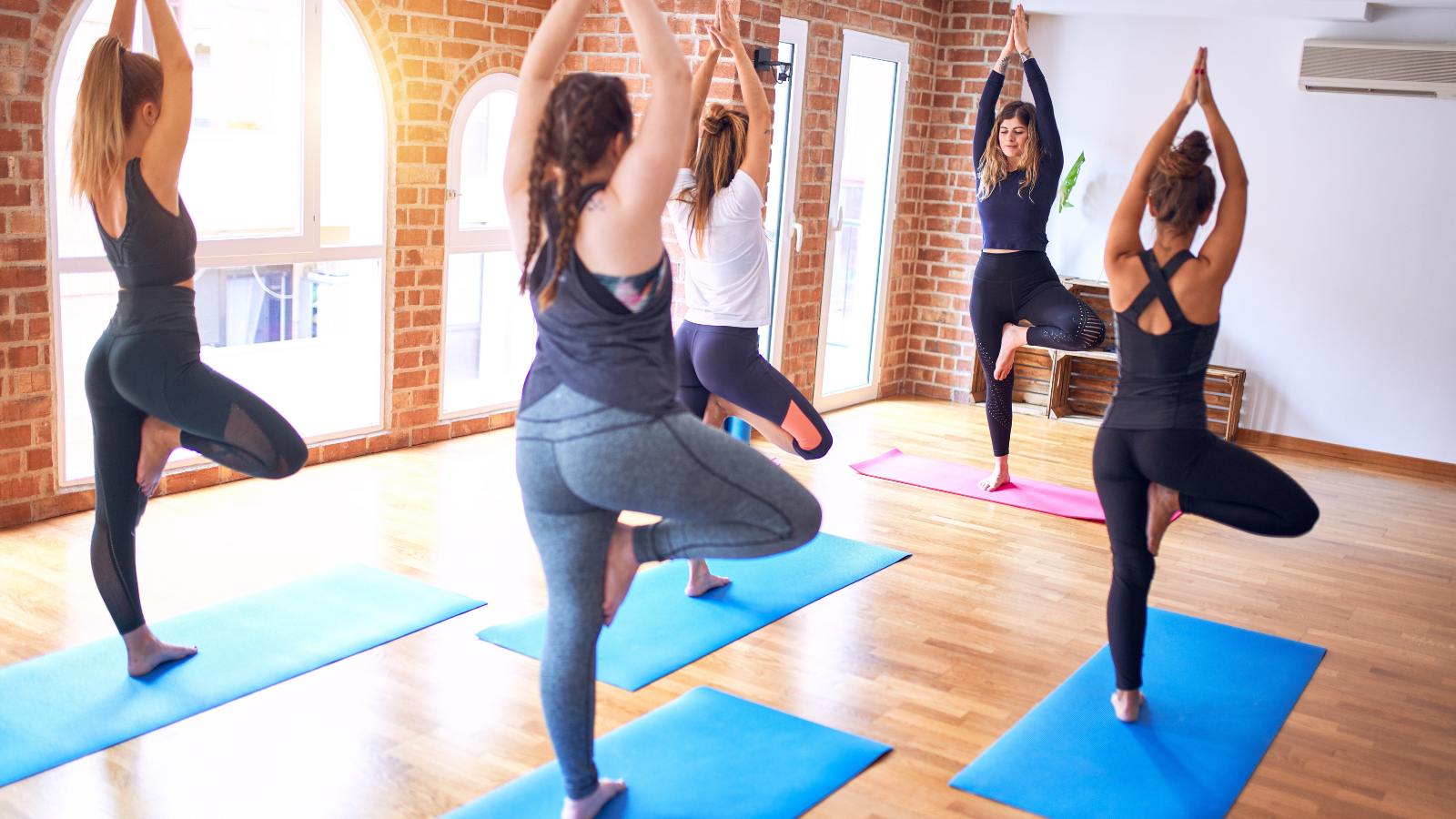 Group of yoga students led by a yoga teacher practicing Tree Pose Vrksasana