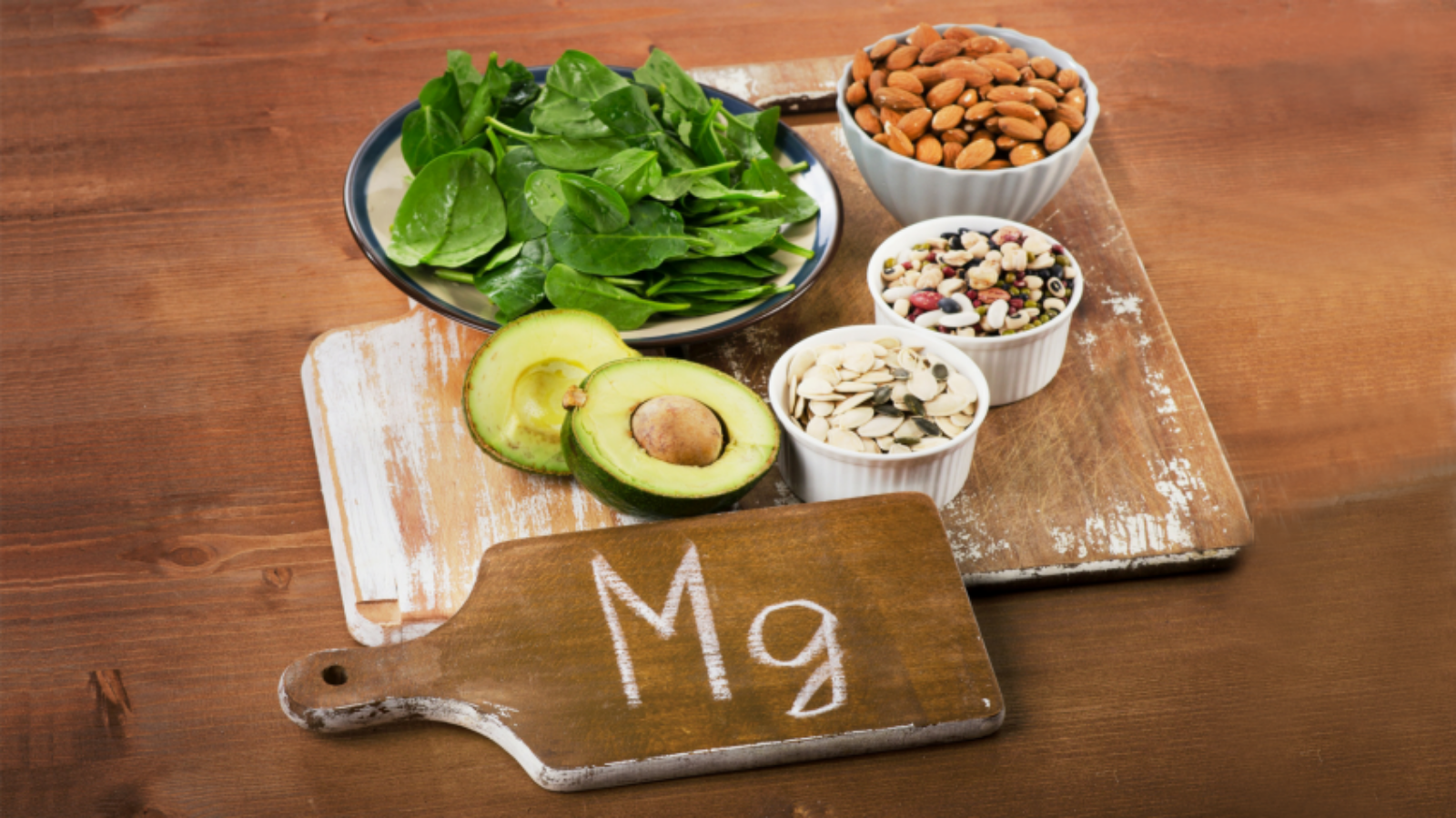 Foods displayed are rich in magnesium