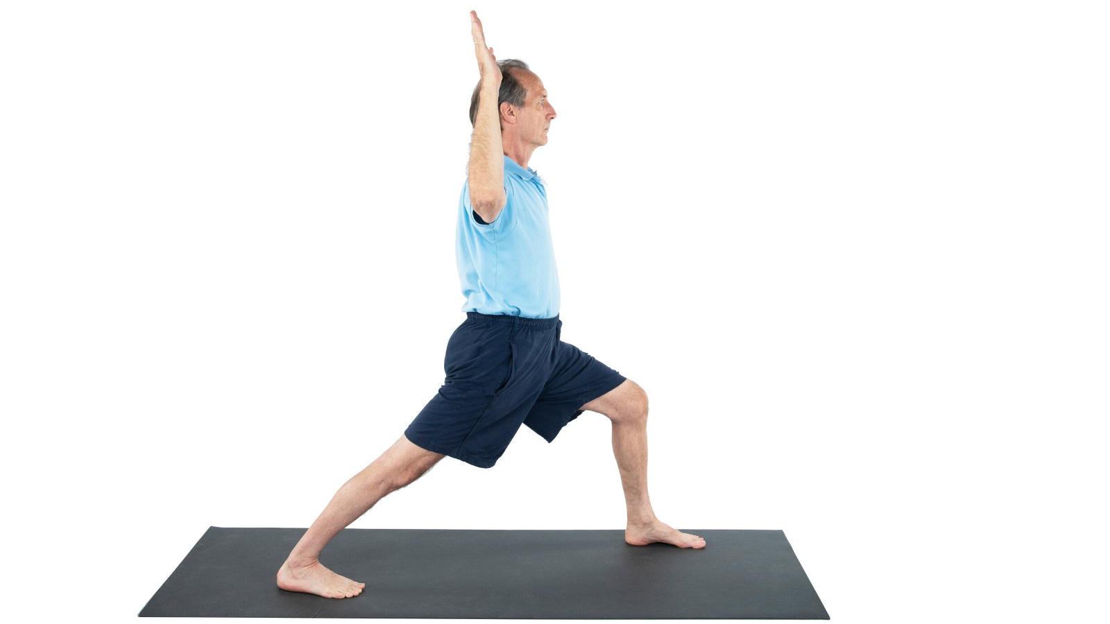 man practicing yoga warrior I with cactus arms