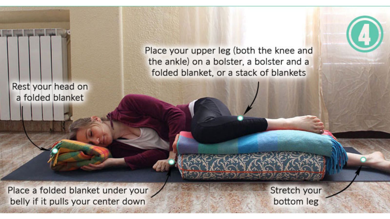 Yoga teaching tips for Side-Lying Savasana pose with bent upper knee and props for pregnant students