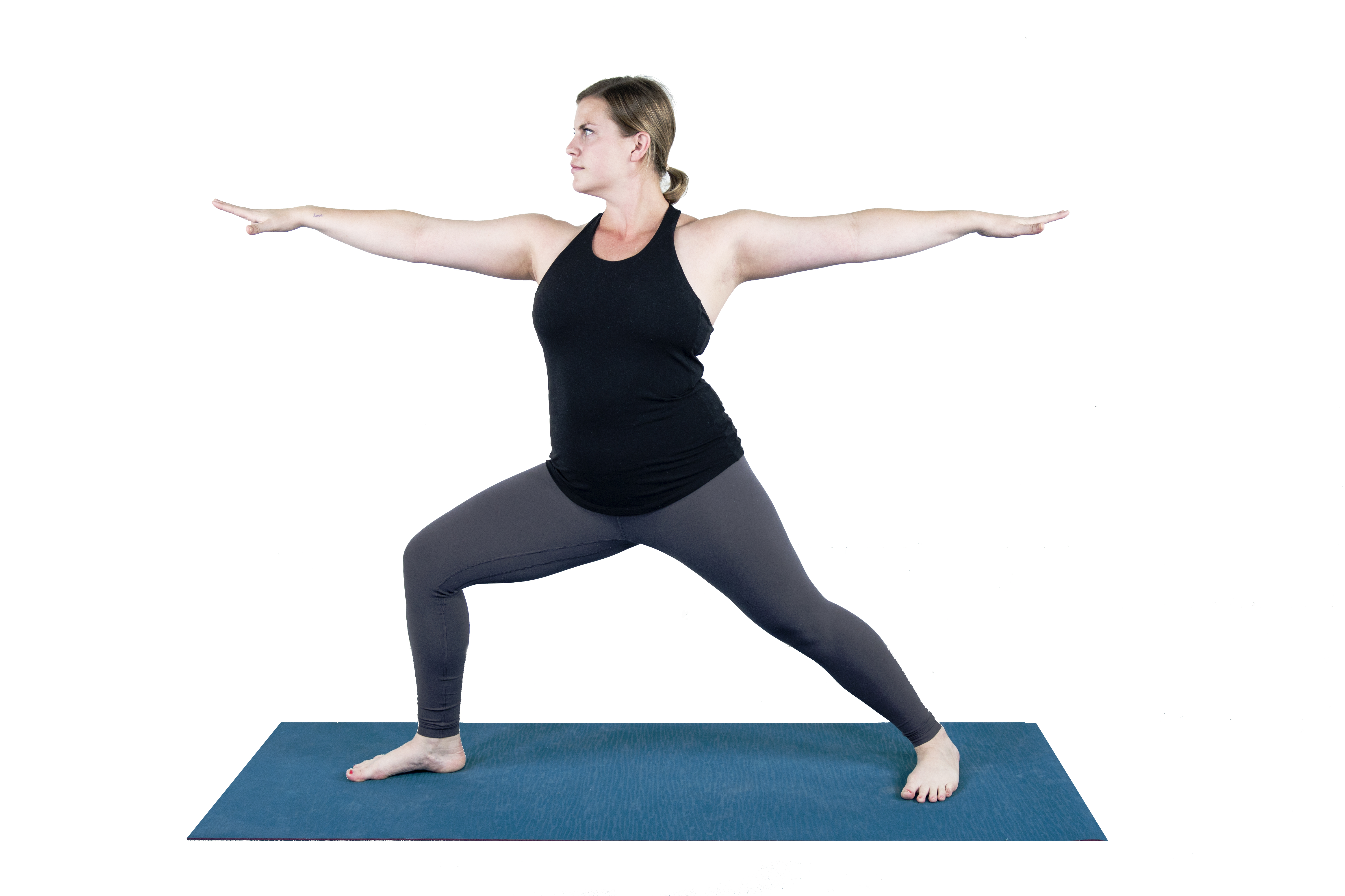 Virabhadrasana 2, warrior 2, standing pose, strengthening pose, beginner's yoga, yoga outdoors