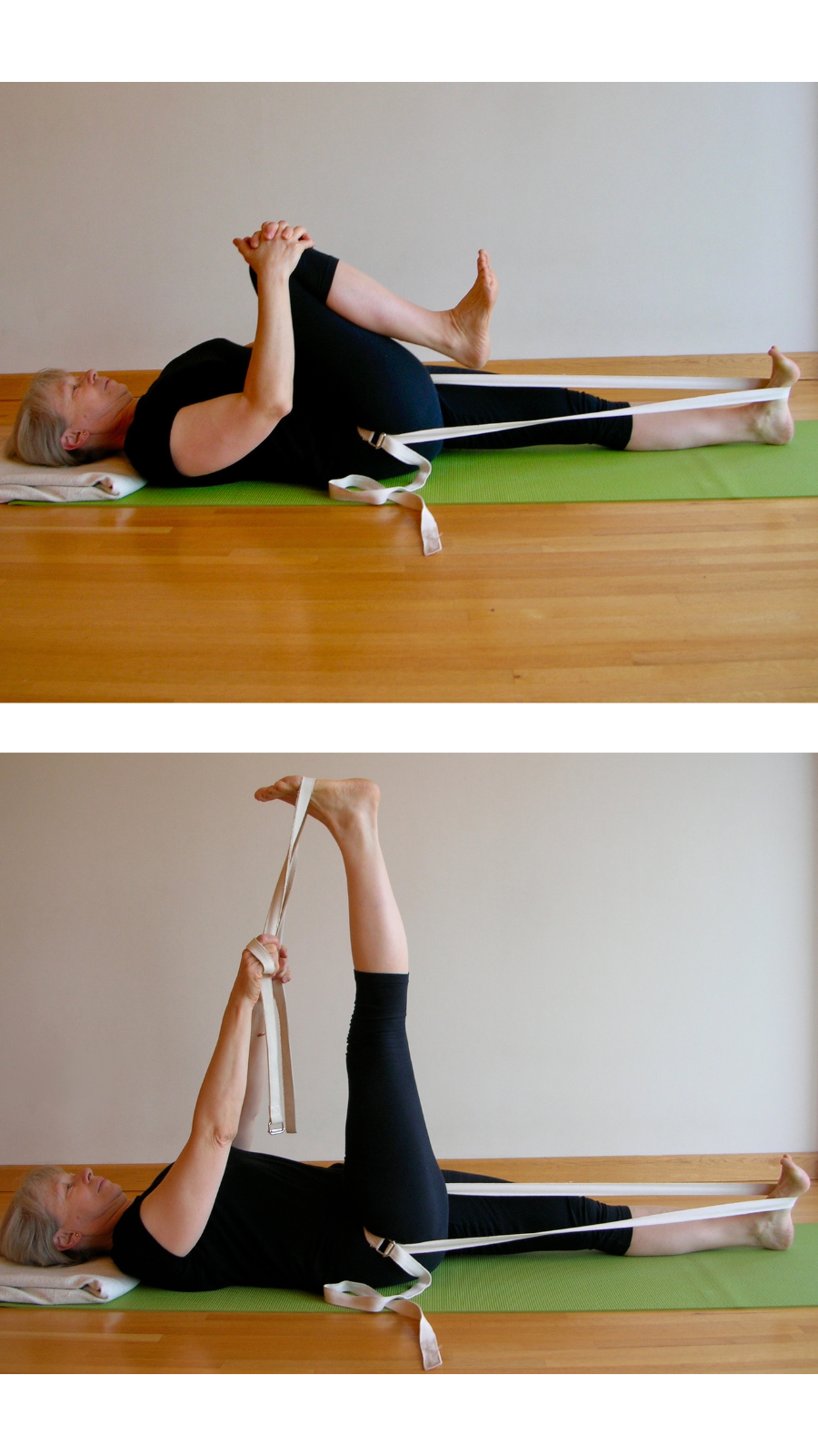 How to use a yoga strap to deepen your hamstring stretch in Supta Padangusthasana