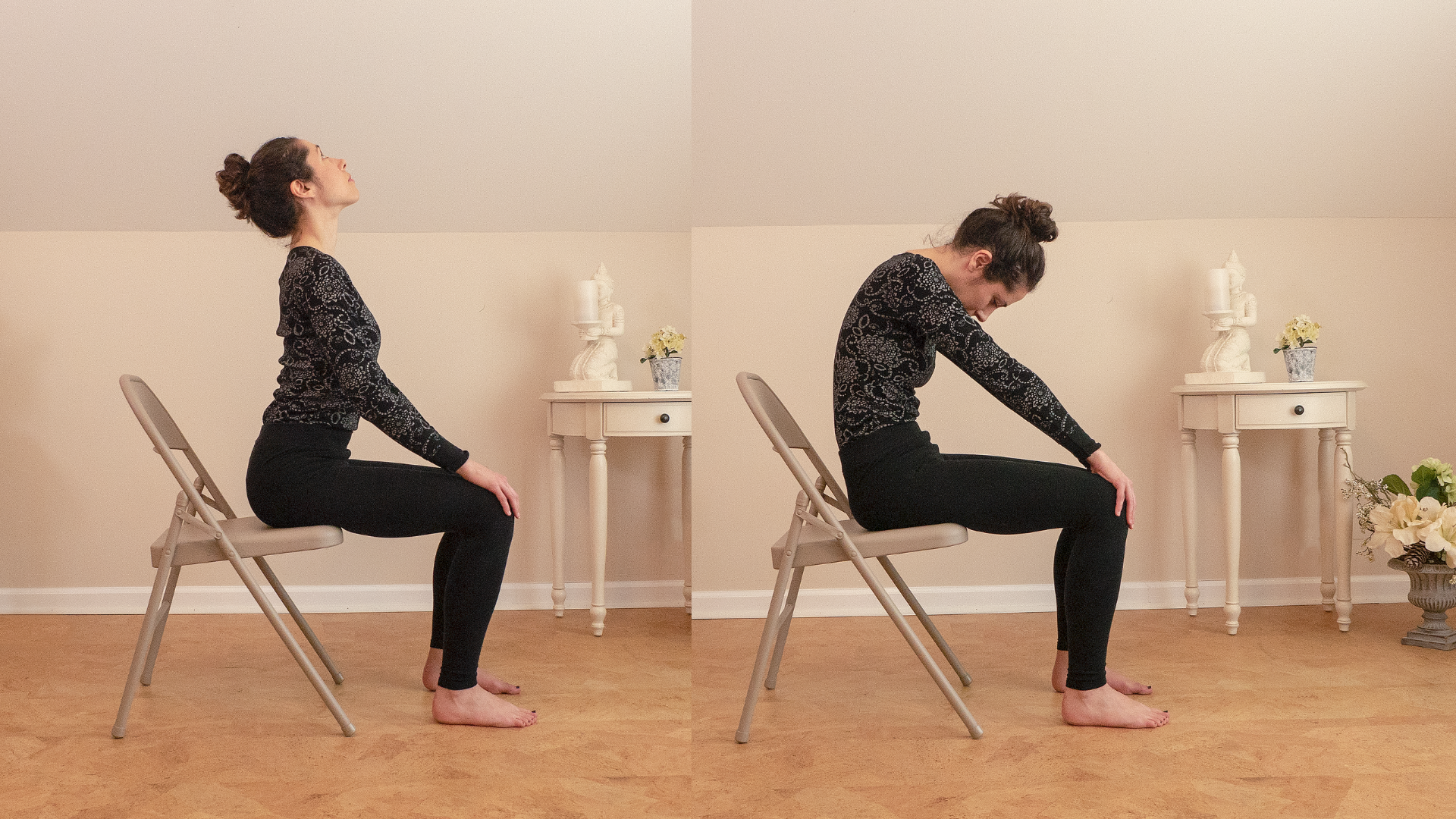 Woman practicing yoga Cat Pose (Marjariasana) and Cow Pose (Bitilasana) in a chair.