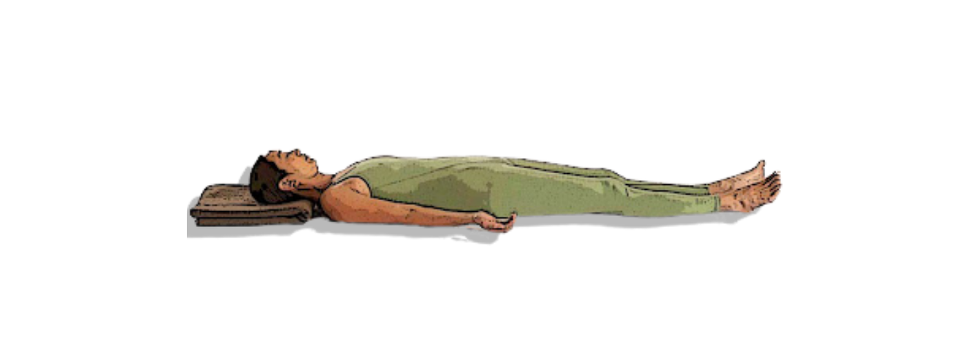 Savasana or Corpse Pose shown with support for the head