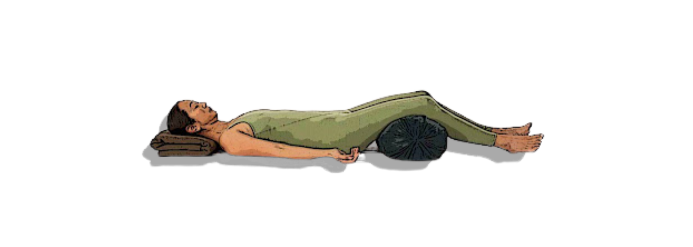 Savasana or Corpse Pose wit support for the legs/knees