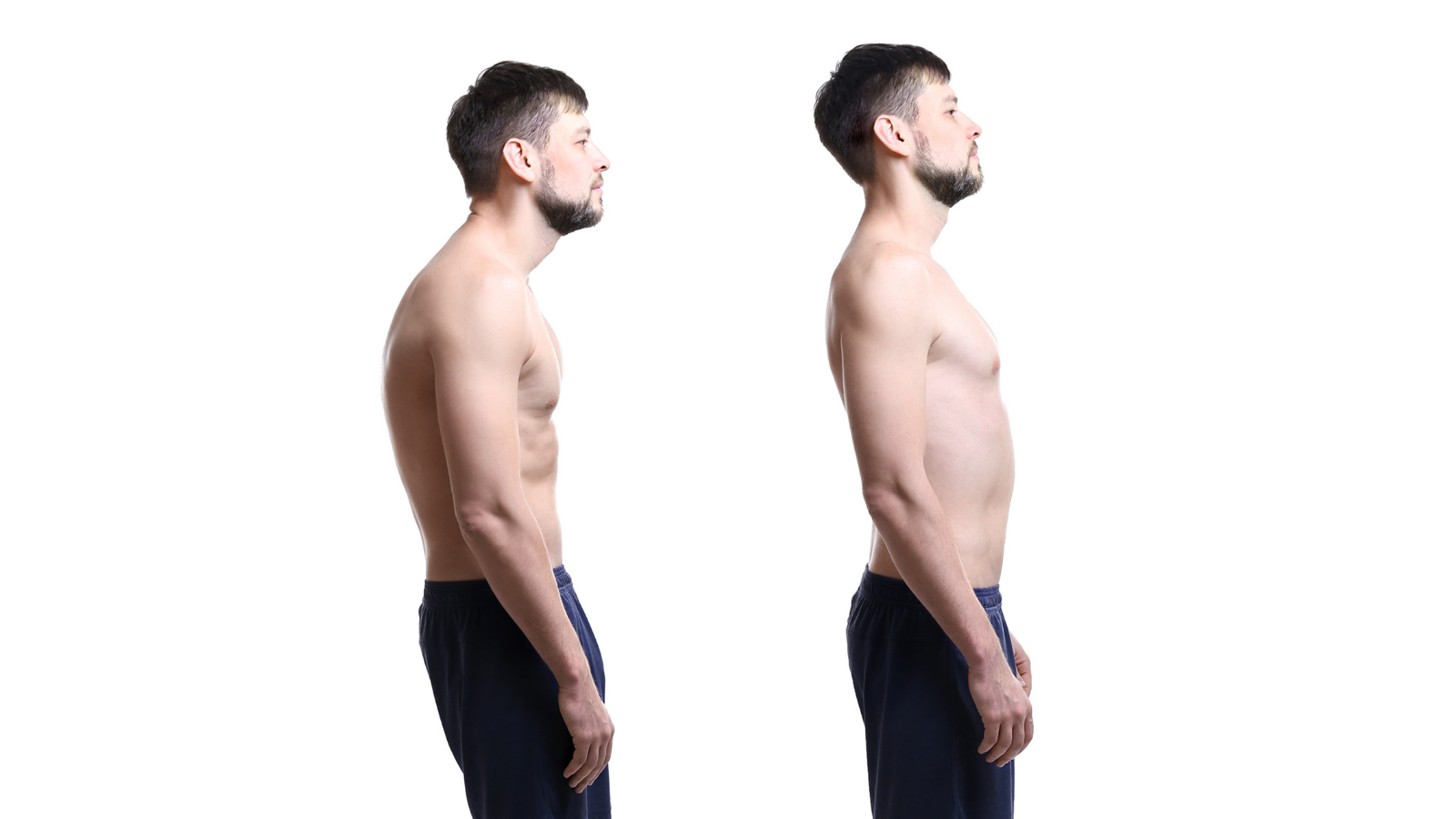 Collage of man with poor and good posture on white background