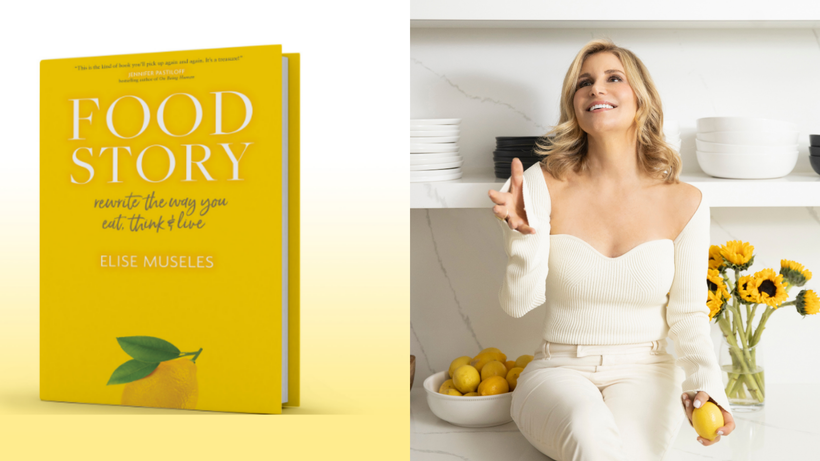 Author Elise Museles cooking and also a cover of her new Food Story book