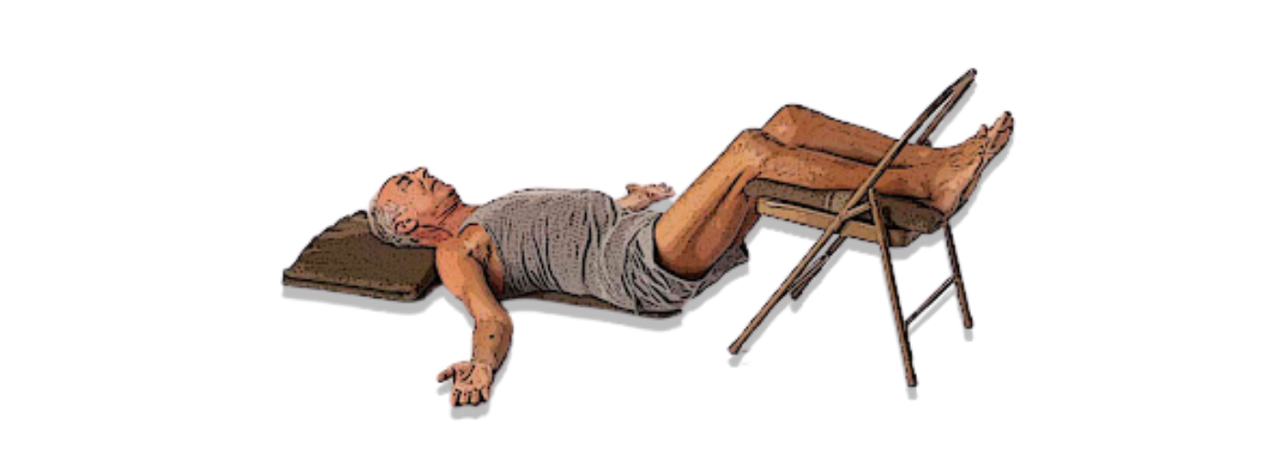 Practicing Savasana with a chair to support the legs