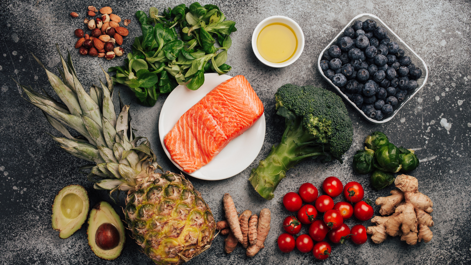 Anti inflammatory diet concept. Set of foods that help to reduce inflammation