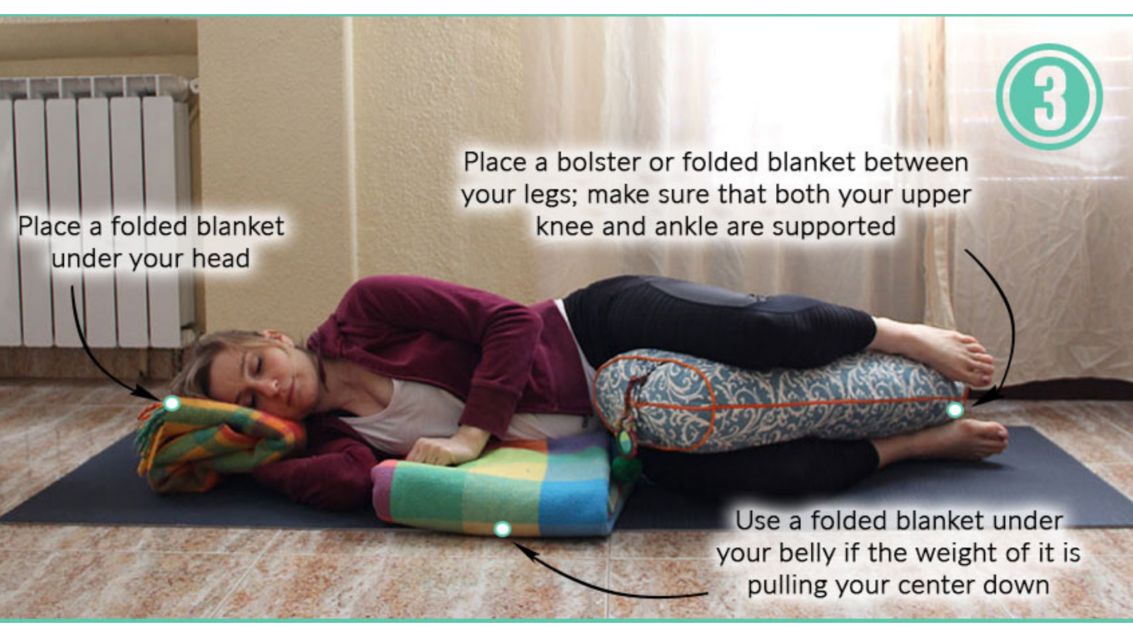 How to safely practice Side-Lying Savasana with bent knees and bolsters while pregnant