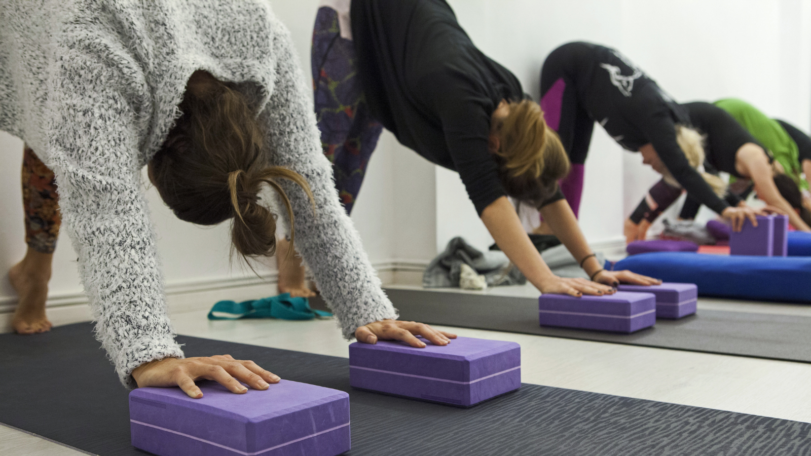How to practice and teach yoga with curiosity and creativity in a mixed level class with modified Downward Facing Dog pose