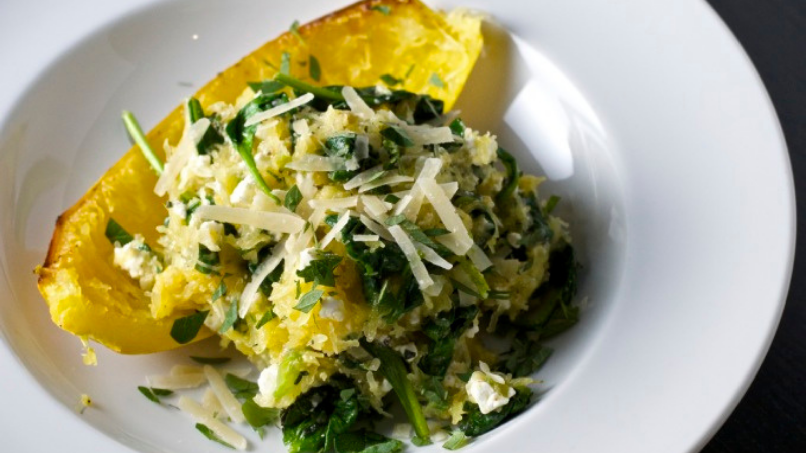 Natural quick comfort foods with spaghetti squash, spinach, and feta