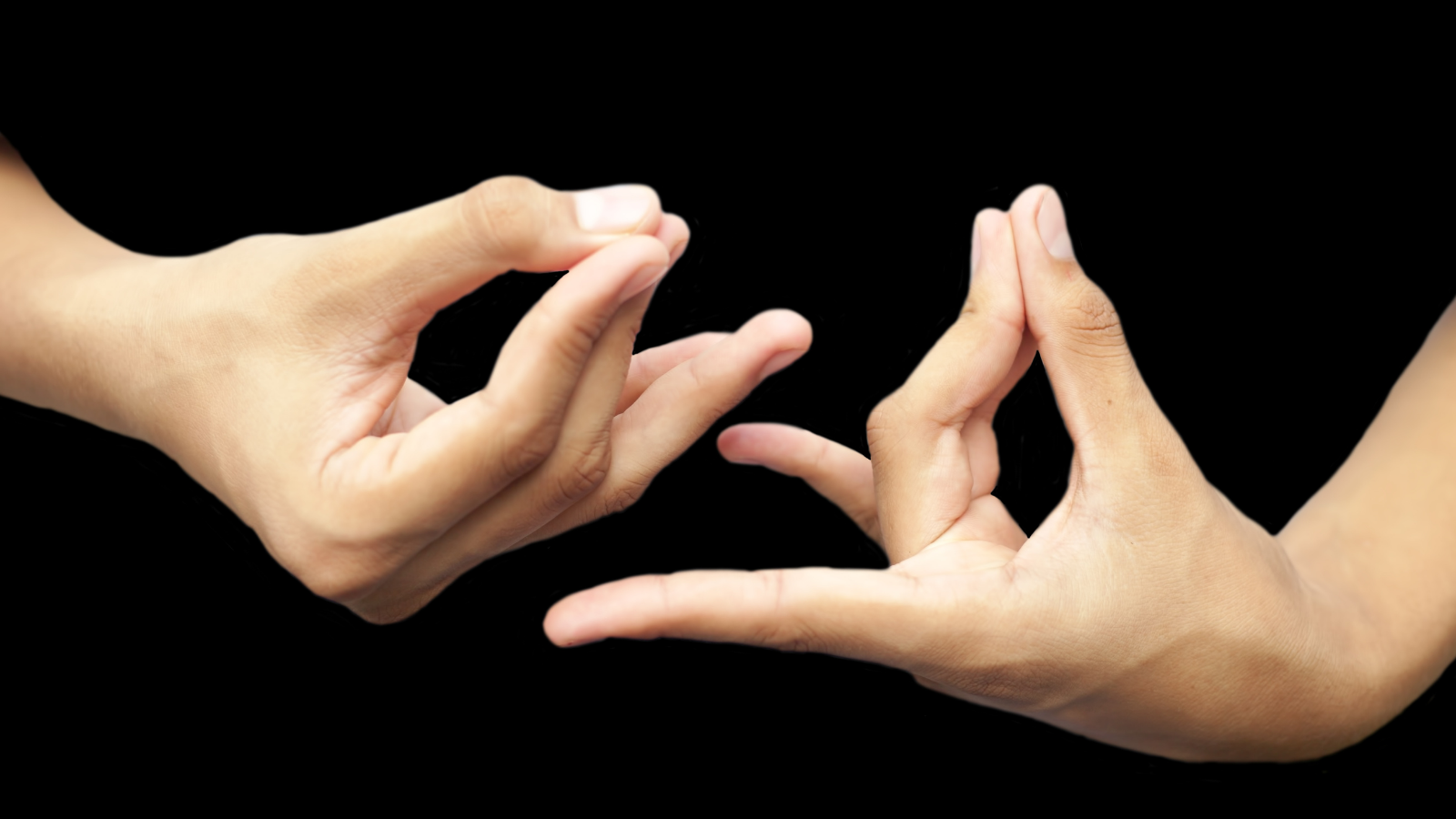 hands of male teenager doing or practicing Pushan Yoga Mudra while meditating