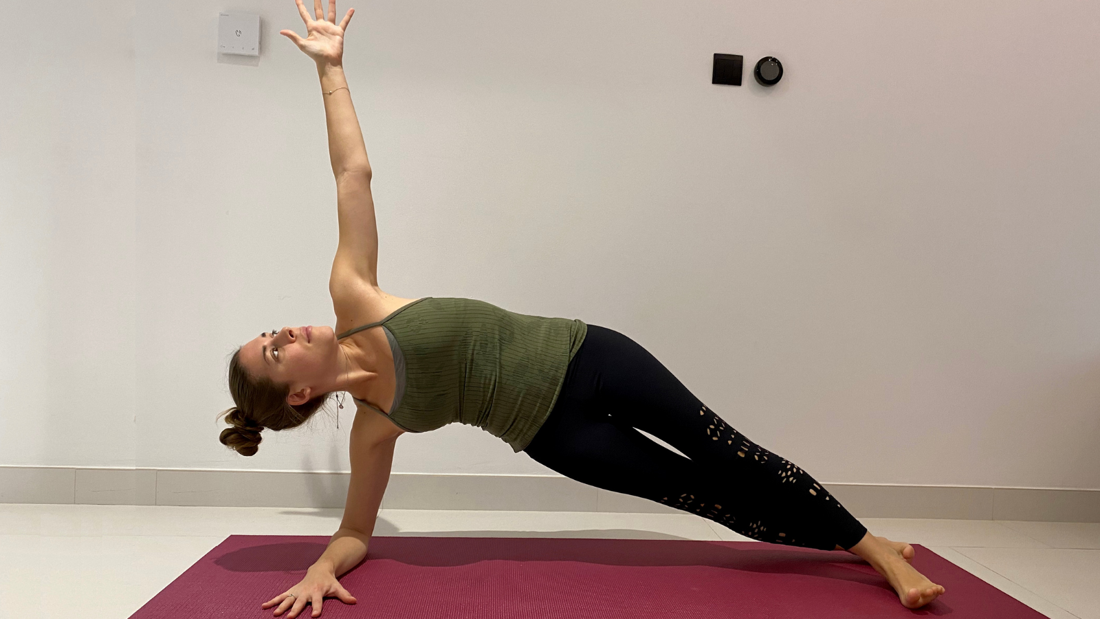 How to strengthen muscles to relieve back pain in Forearm Side Plank Pose (Vasisthasana)