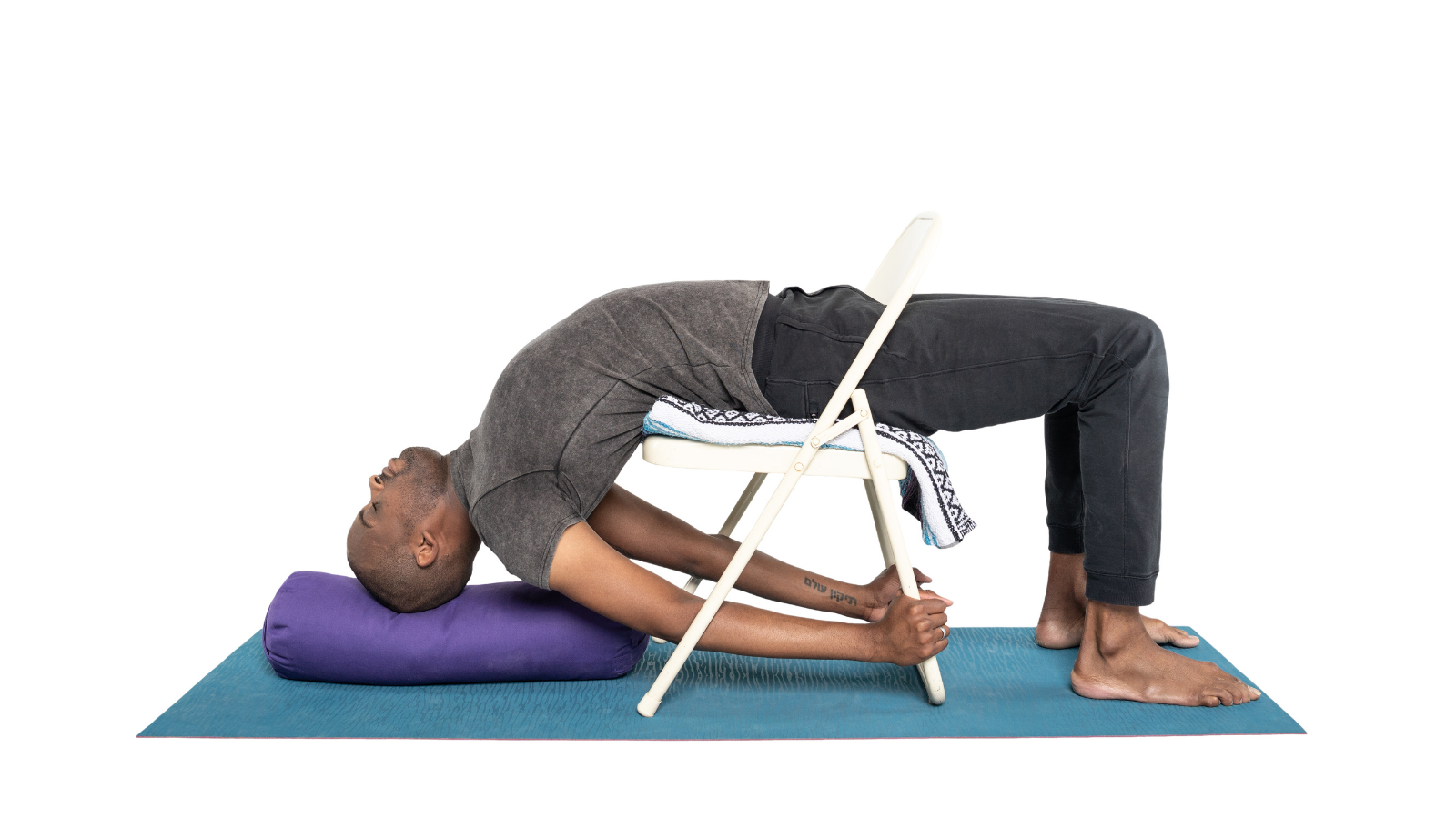 How to practice yoga poses like Bridge Pose (Setu Bandha Sarvangasana) with creative and mindful use of props