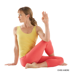 Mobilizing the External Rotators with External Rotation in Seated Twist yoga pose (Ardha Matsyendrasana)