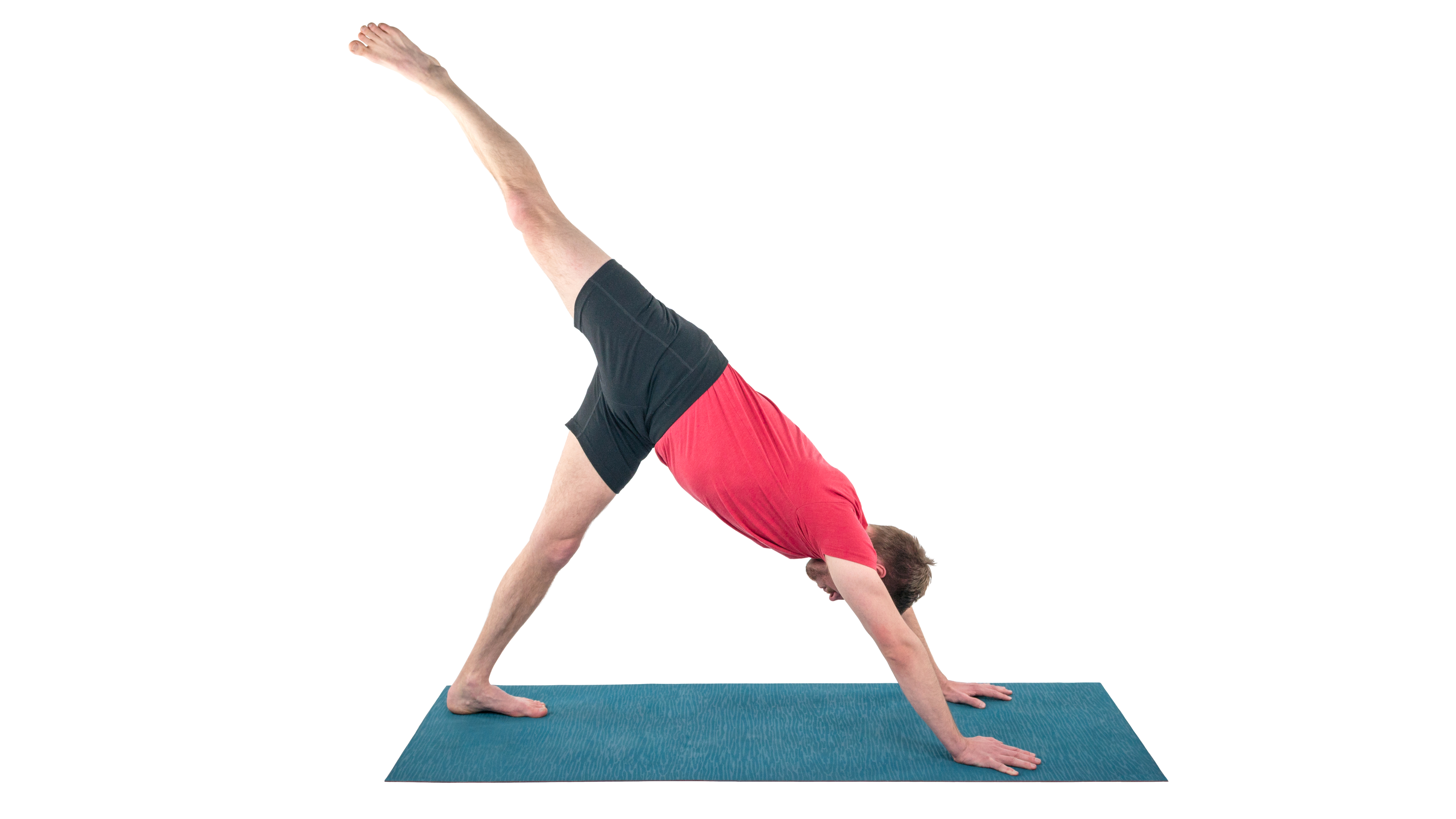 Adho Mukha Svanasana, downward facing dog, inversion, difficult pose,  three-legged version, pose variations for right-left brain integration