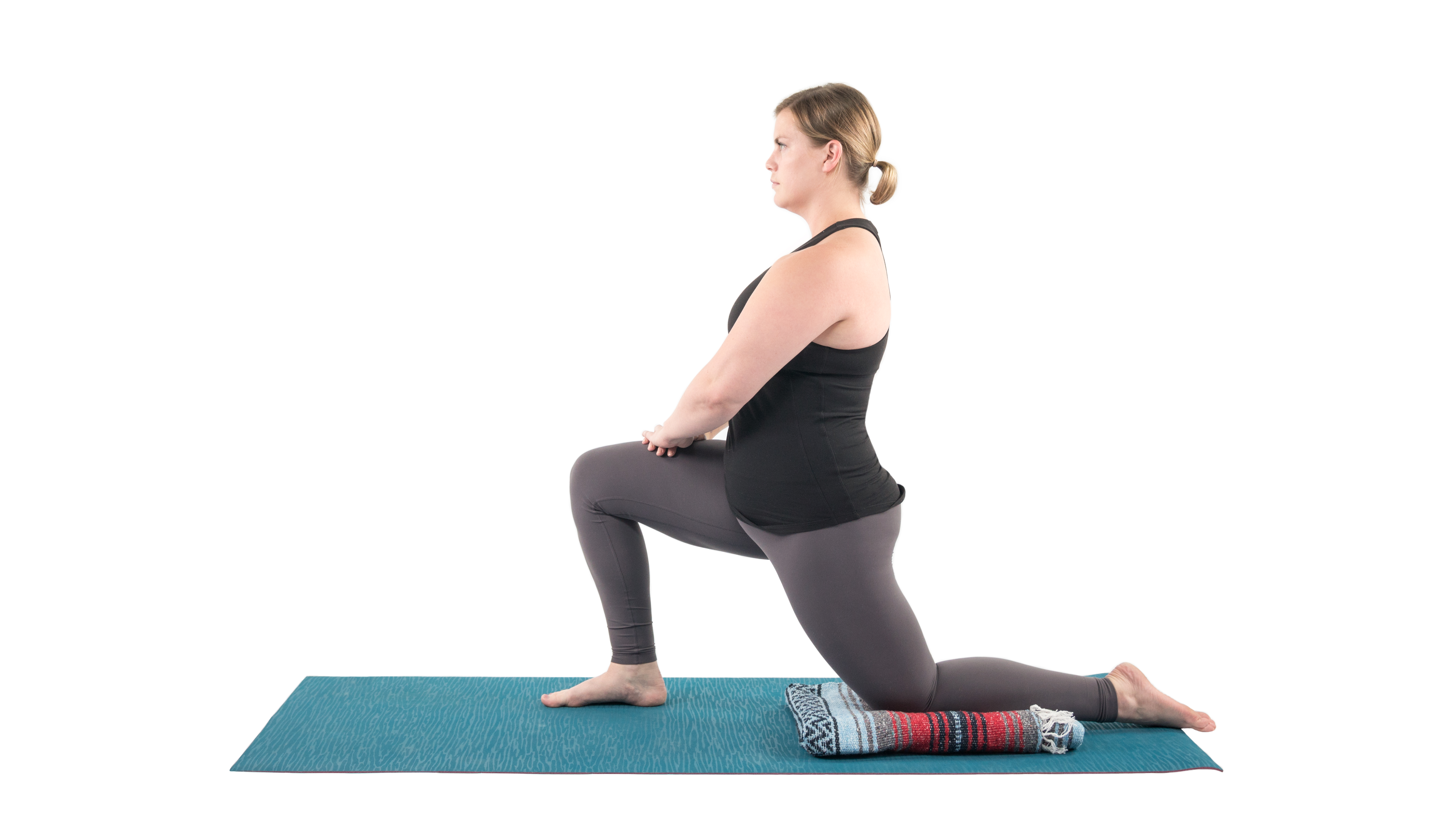 Anjaneyasana, low lunge, lunge with knee support, lunge to prepare for backbending, Dhanurasana prep