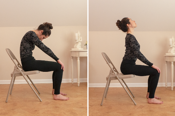 Woman practicing Cat (Marjaiasana) and Cow (Bitilasana) Yoga Poses in a Chair