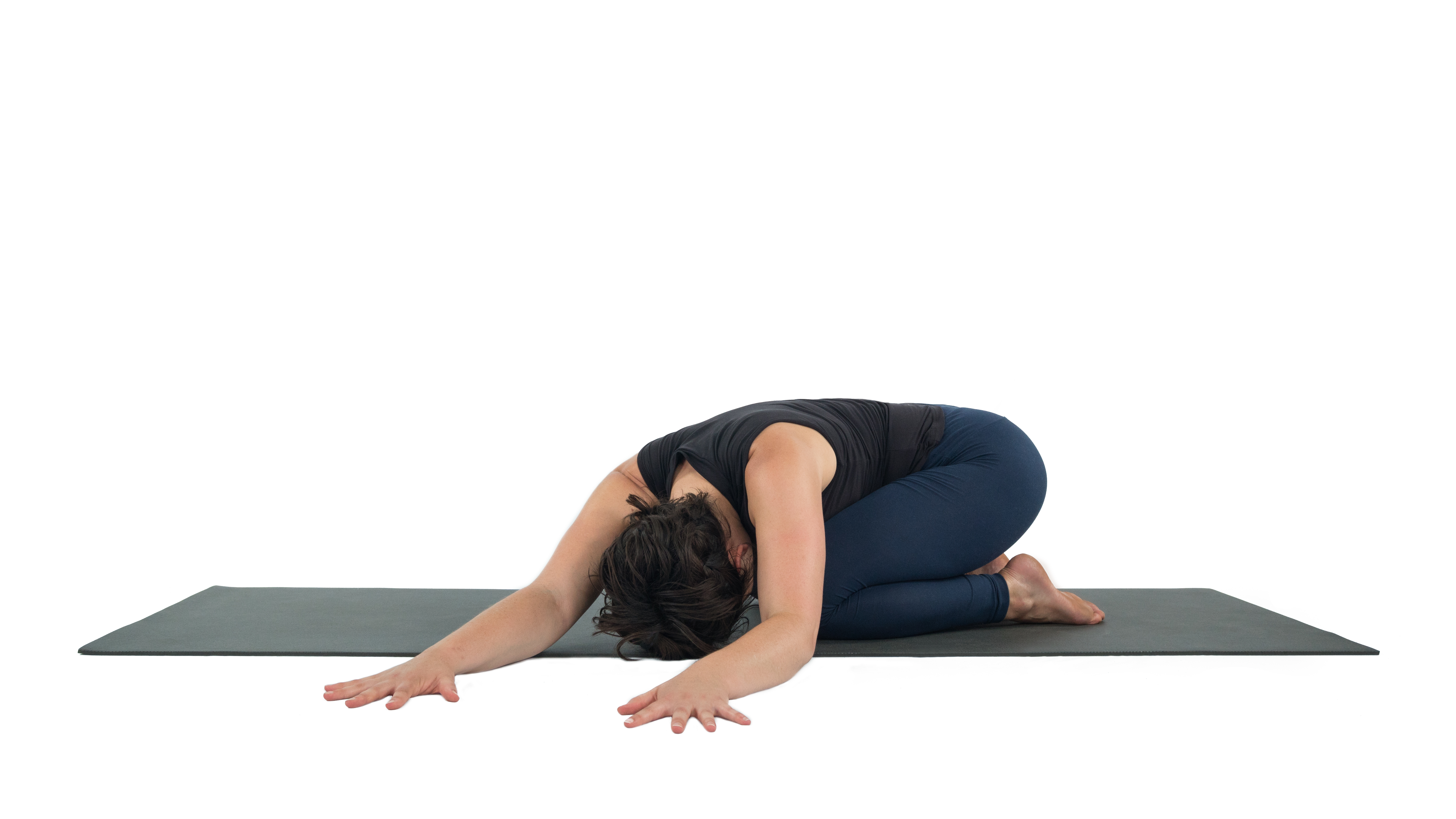 Balasana, Child's Pose, child's pose with side stretch, asana variations, beginner's yoga, child's pose with props