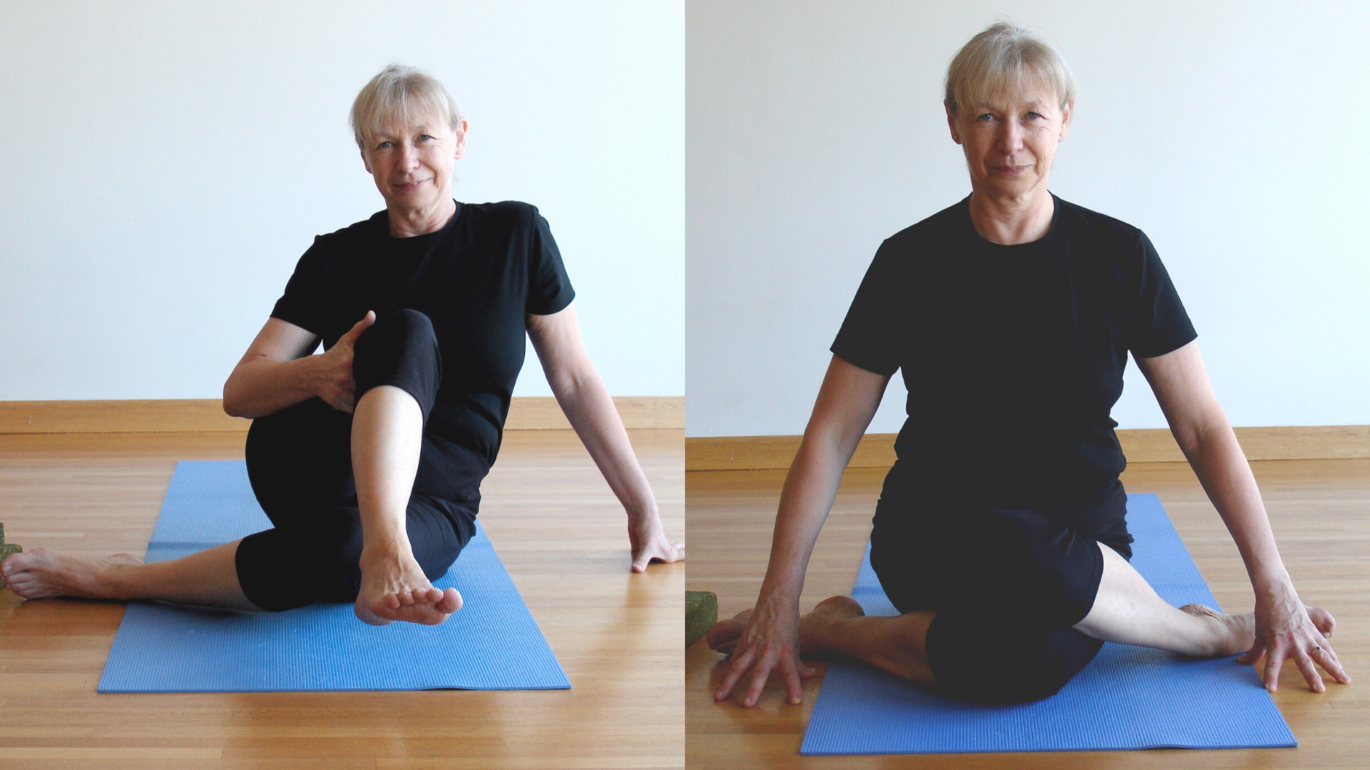 Woman moving into Cow-Face Pose Gomukhasana.