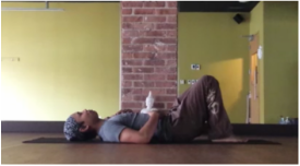 Counter pose for backbends, knees bent, or knee bent and one leg straight