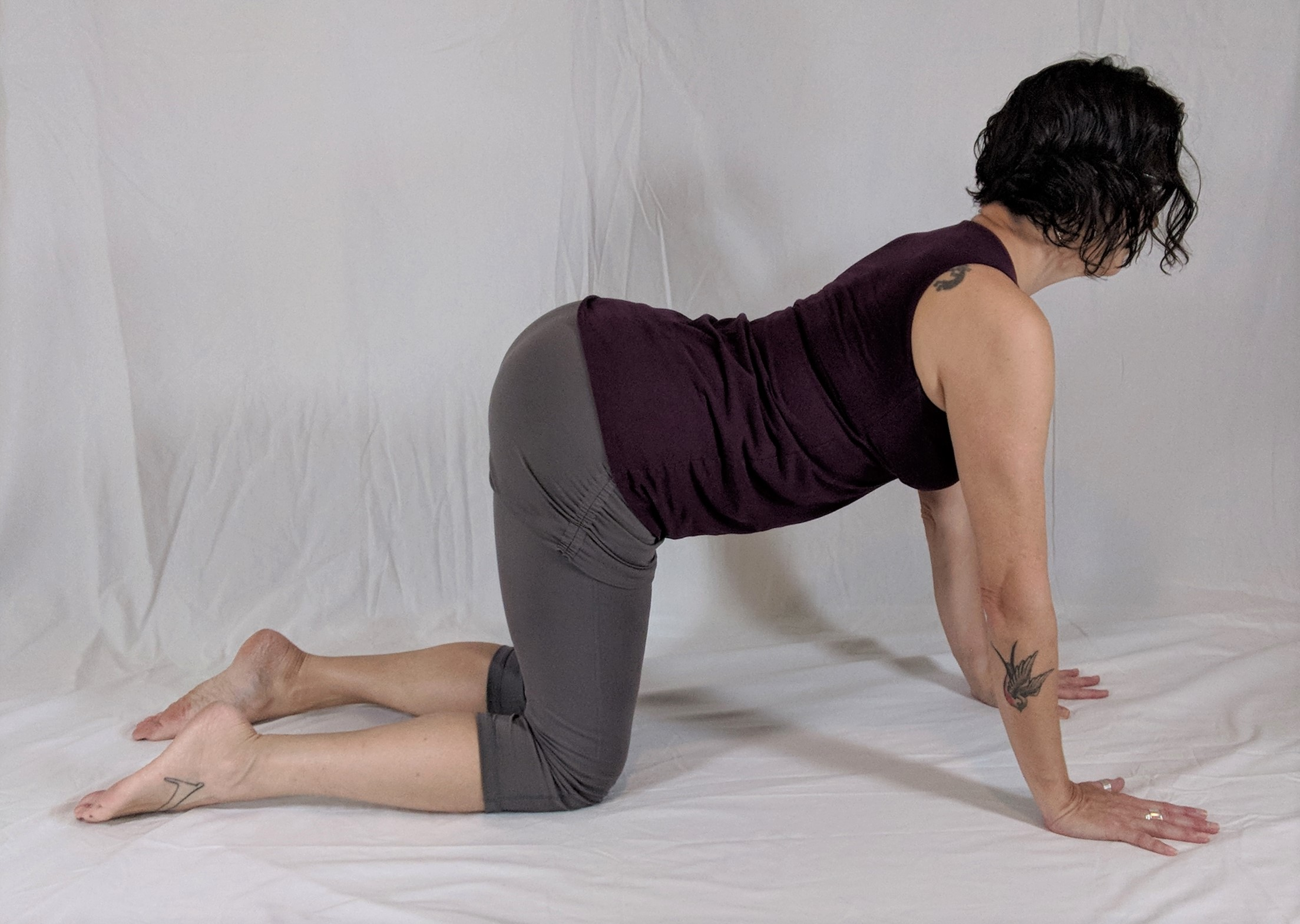 cat cow pose, spinal stretch, flow with breath, yoga for cancer relief, yoga for beginners