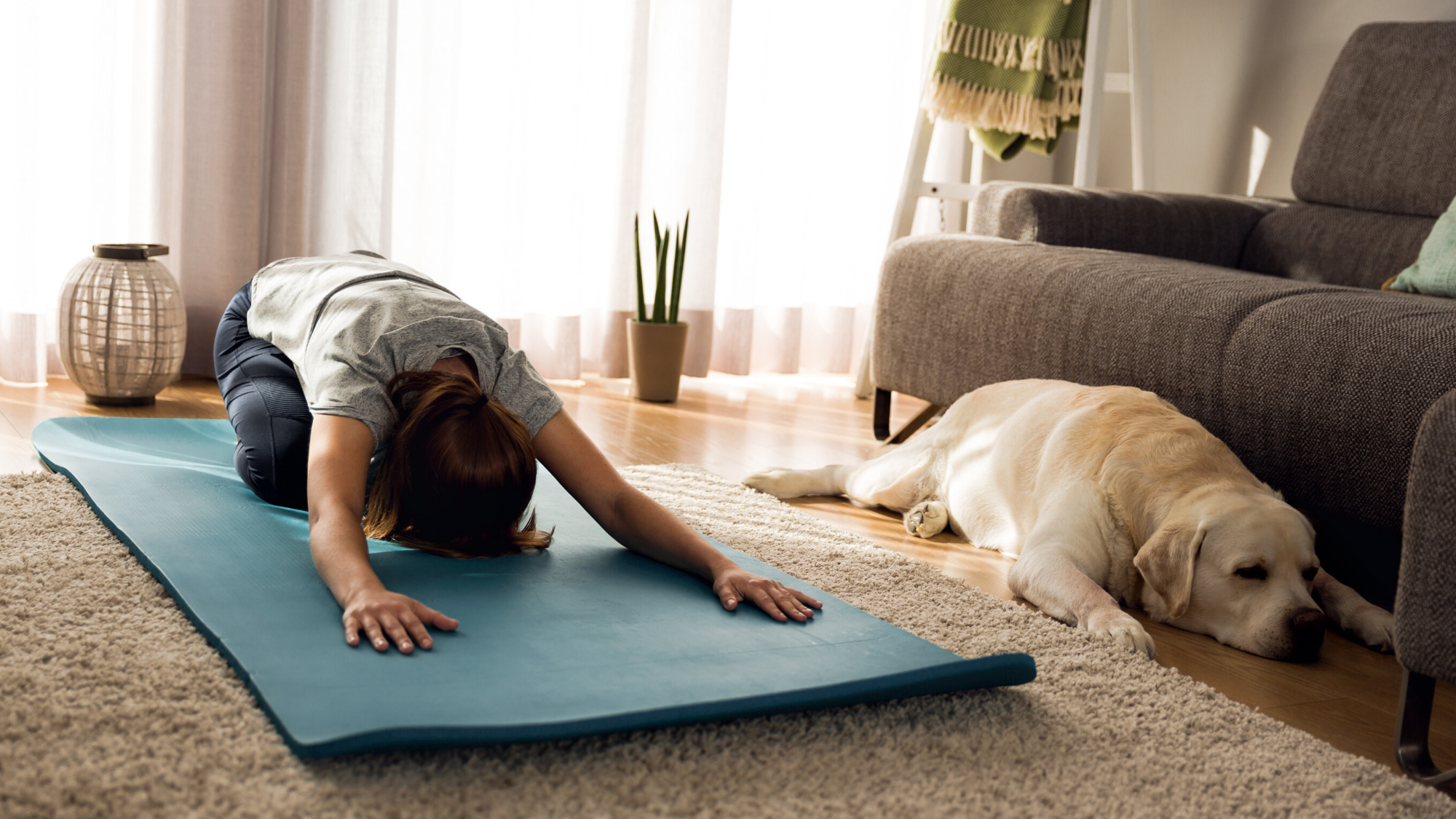 Woman practicing yoga child's pose at home with her dog.