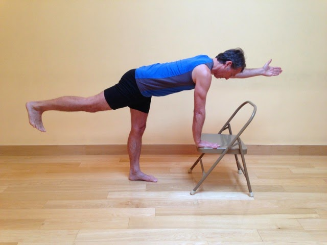 Parsva Balasana, Bird-Dog Pose, Bird-Dog Pose with arm and leg extention, balance pose, Bird-dog variation with chair as prop
