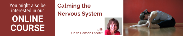 Judith Hanson Lasater, Yoga teacher, Restorative Yoga, YogaU presenter, calming the nervous system, the art of forward bends
