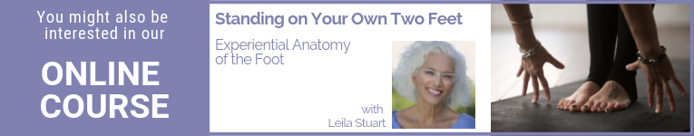 """Online Yoga Course with Leila Stuart called """"Standing on Your Own Two Feet: Experiential Anatomy of the Foot"""""""