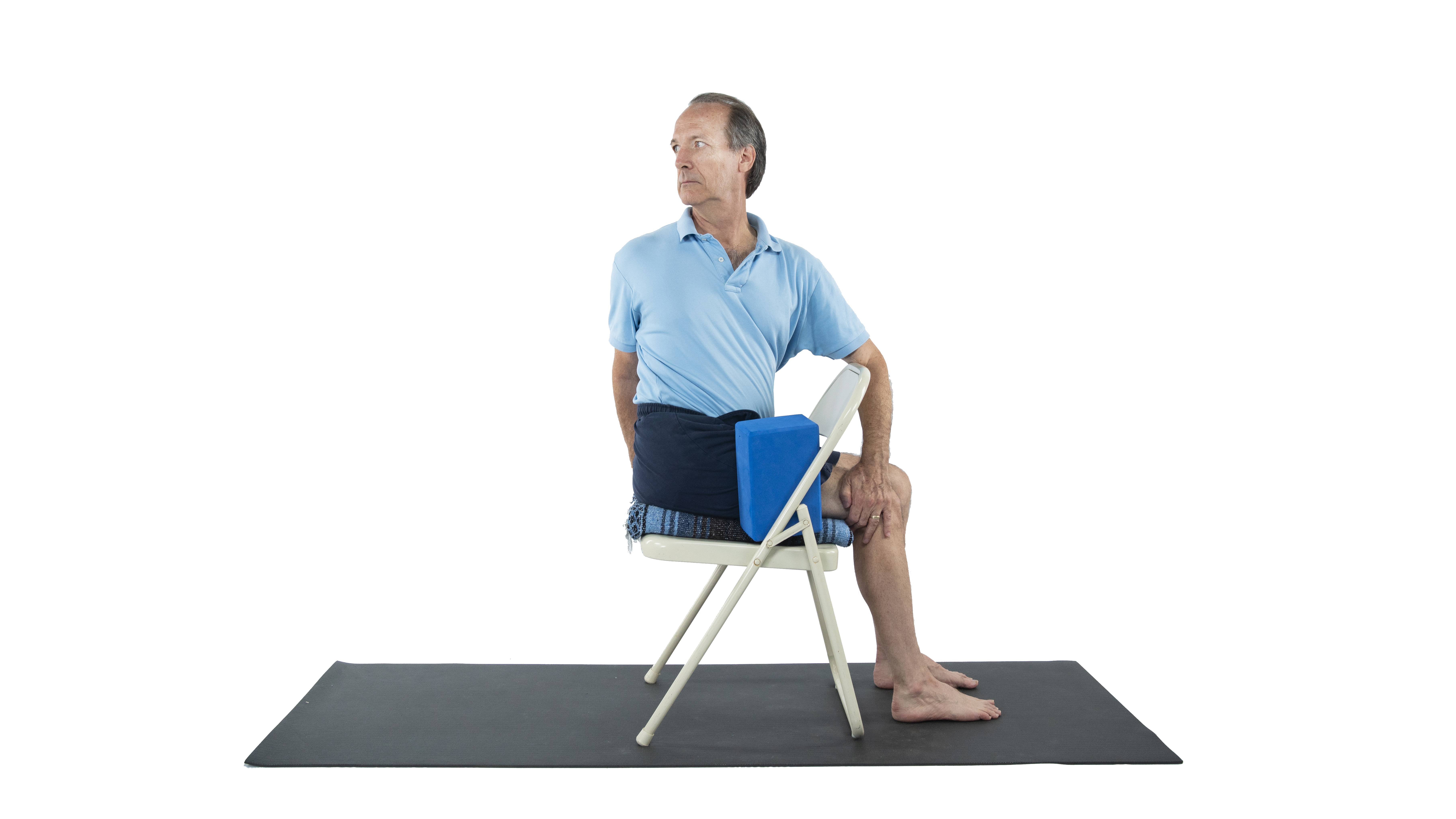 Marichyasana, great sage pose, gentle twists, twist gently in chair, yoga over 50, yoga for improving digestion