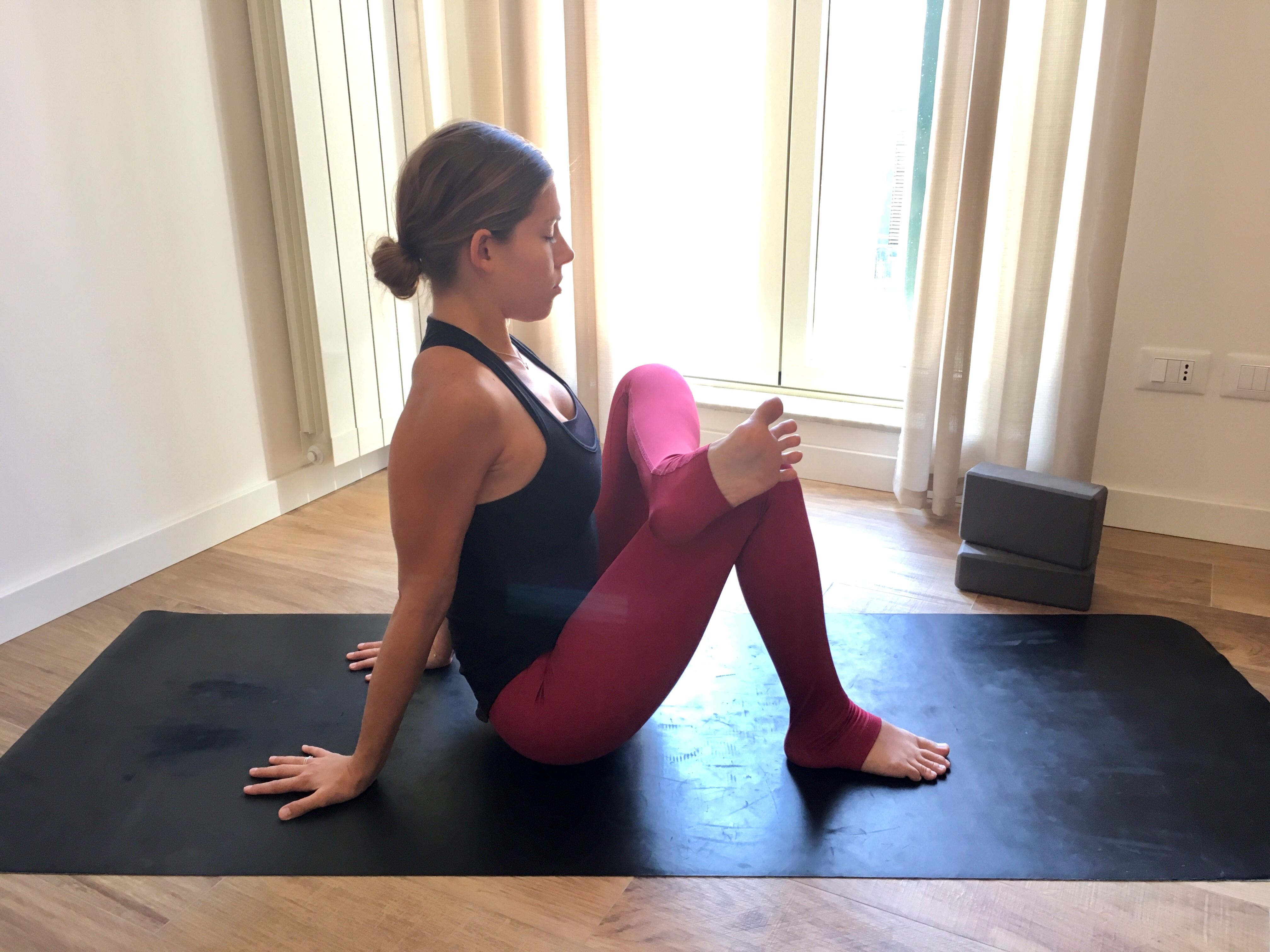 Seated Sucirandhrasana, seated eye of the needle pose, beginner's yoga, seated poses, yoga for piriformis syndrome