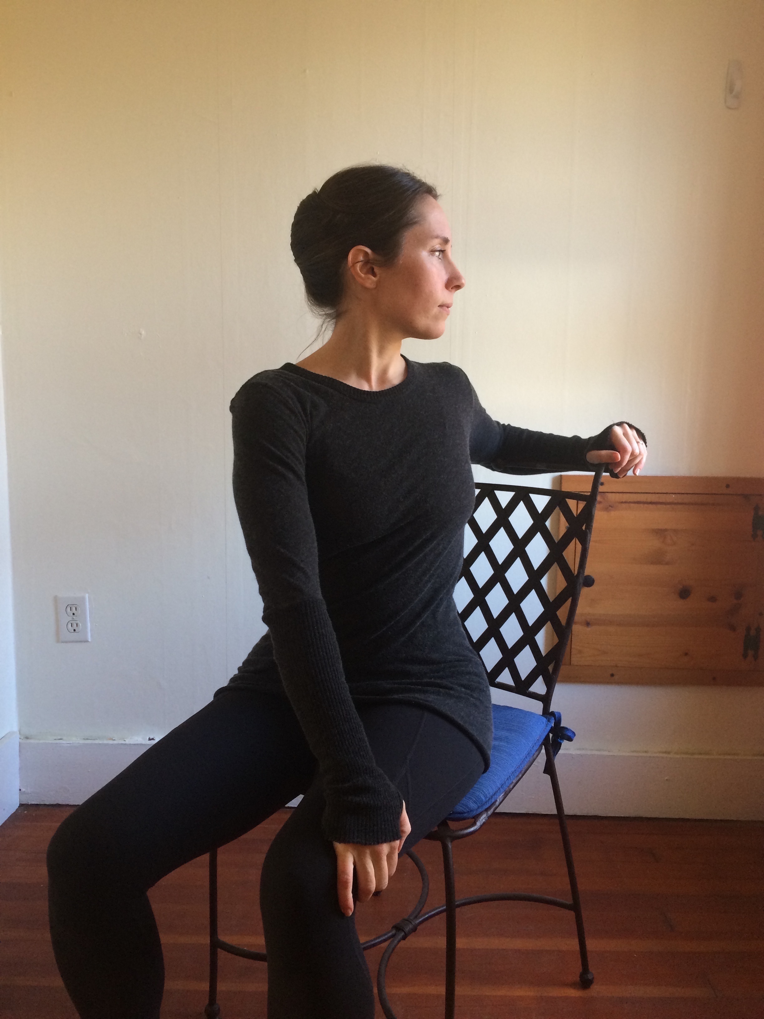 Seated Twist, twist with chair, gentle twist, yoga at your office desk