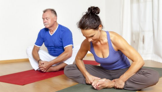 Yoga class for healthy aging