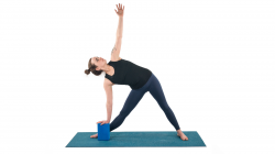 Triangle Pose or Trikonasana is a strengthening and lengthening pose