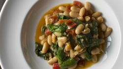 Healthy winter recipe for hearty chard and white bean ragout