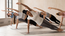 Yoga teaching tips variations of Side Plank Pose (Vasisthasana) to gradually build shoulder and core strength