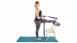 Standing Hand to Toe Pose, Using Props in Yoga, Yoga with a chair, using a strap in Hand-to-Toe-Pose