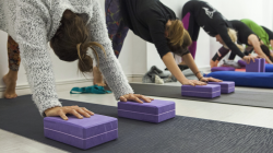 group of yoga students practicing downward facing dog pose with yoga props