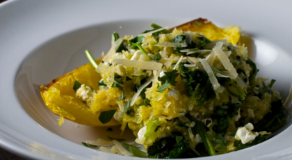 A healthy, satisfying recipe for spaghetti squash with spinach and feta cheese