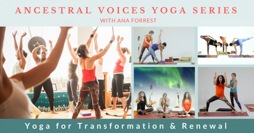 """Pictures of yoga sessions from Ana Forrest's Yoga Series called """"Ancestral Voices"""""""