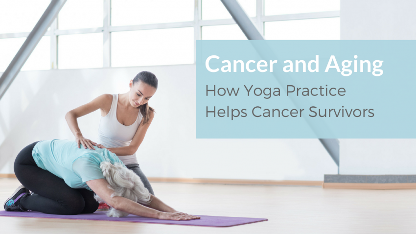 Woman in Child's Pose (Balasana), practicing yoga to help aging and cancer recovery