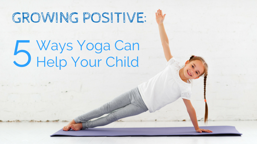 mom and child practicing yoga for kids, side plank pose