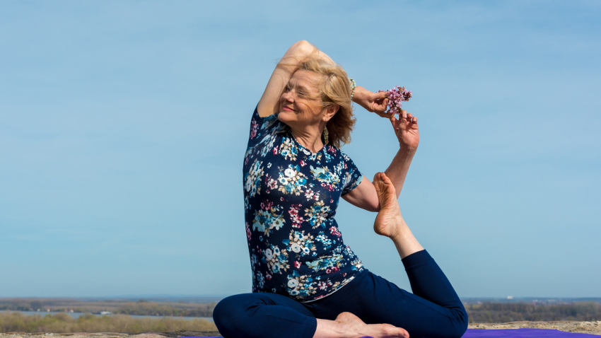 Yoga woman to help anxiety and depression in Pigeon Pose (Kapotasana)