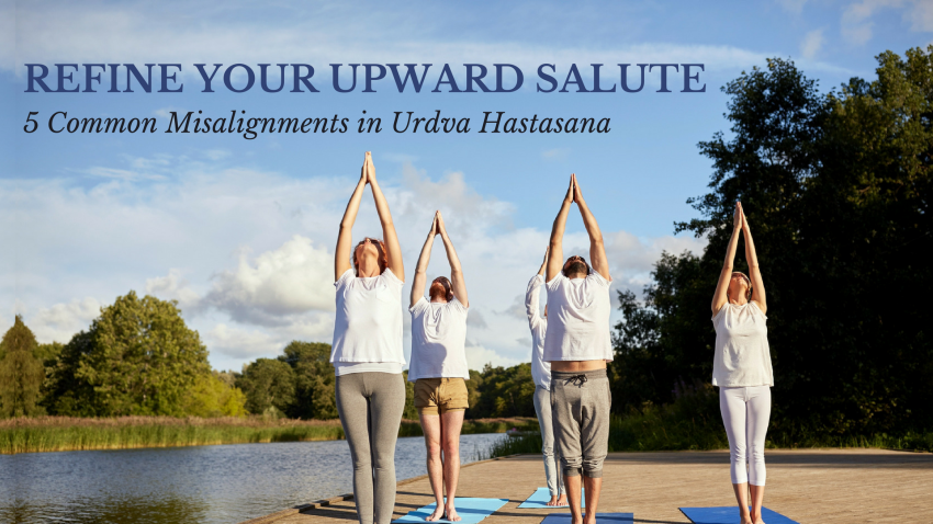 People in Upward Salute yoga Pose (Urdva Hastasana) practicing proper alignment
