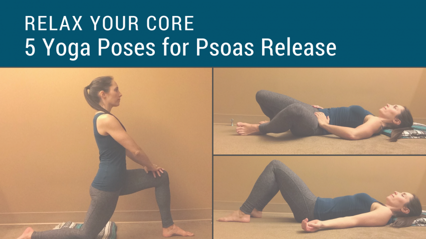 A woman in a sequence of yoga poses to massage the psoas muscle